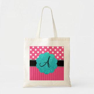 Monogram pink stripe polka dots budget tote bag