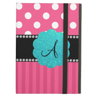 Monogram pink stripe polka dots case for iPad air