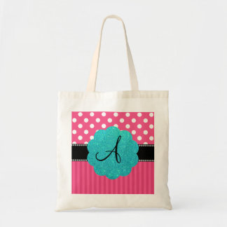 Monogram pink stripe polka dots canvas bags