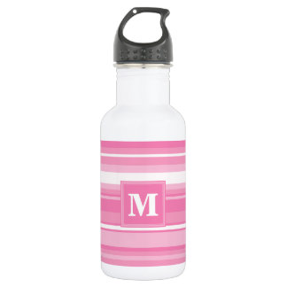 Monogram pink stripes 532 ml water bottle