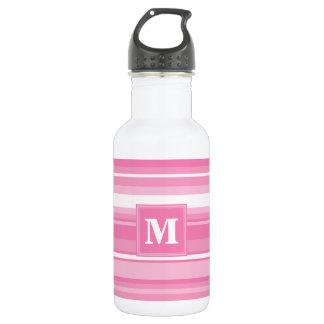 Monogram pink stripes 532 ml water bottle