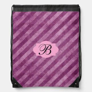 Monogram Pink Stripes Drawstring Backpack
