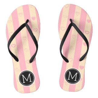 Monogram Pink Stripes Modern Heart Pattern Thongs