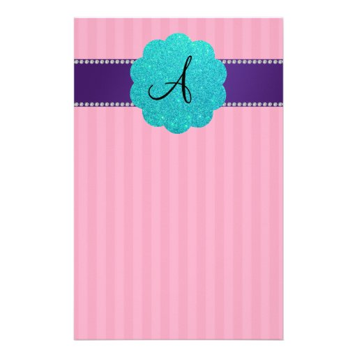 MOnogram pink stripes purple diamonds Customized Stationery