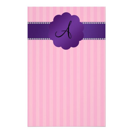 Monogram pink stripes purple diamonds personalized stationery