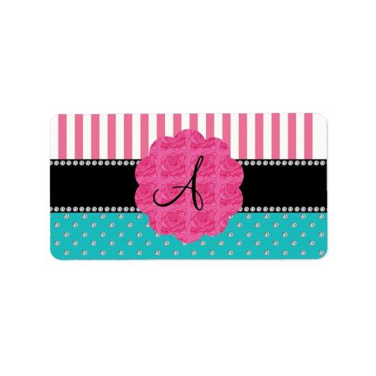 Monogram pink stripes turquoise diamonds label