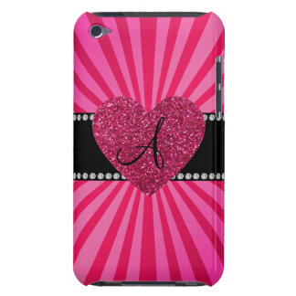 Monogram pink sunburst pink heart iPod touch cases