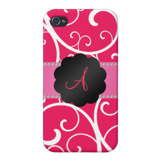 Monogram pink swirls covers for iPhone 4
