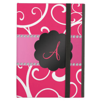 Monogram pink swirls iPad air cases