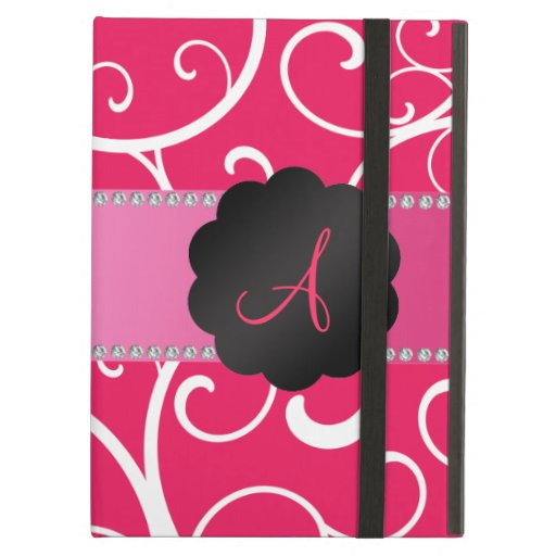 Monogram pink swirls iPad folio cases