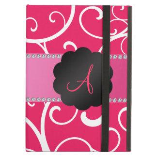 Monogram pink swirls iPad folio cases