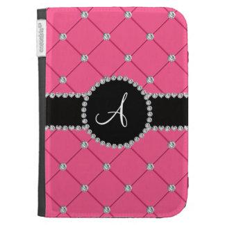 Monogram pink tuft diamonds kindle covers