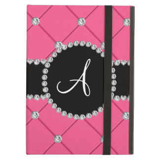 Monogram pink tuft diamonds cover for iPad air