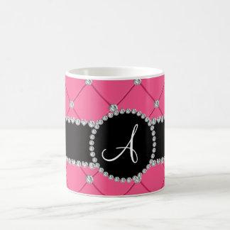 Monogram pink tuft diamonds classic white coffee mug