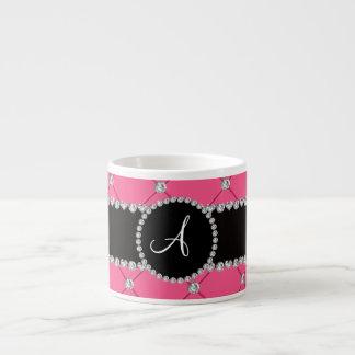 Monogram pink tuft diamonds espresso mugs