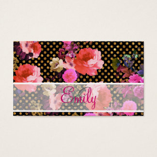 Monogram Pink Vintage Flower Black Gold Polka Dots