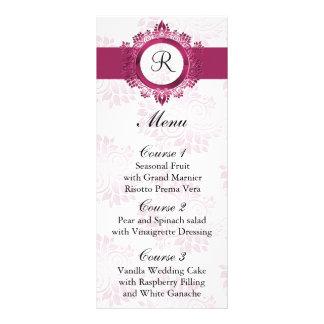 monogram pink wedding menu full color rack card