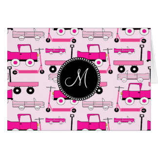 Monogram Pink Wheels Cars Trucks Scooters Wagons Card