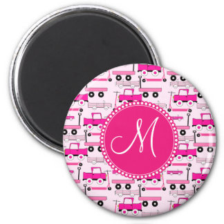 Monogram Pink Wheels Cars Trucks Scooters Wagons Magnet