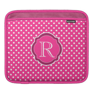 Monogram Pink & White Polka Dot Quatrefoil Pattern Sleeves For iPads