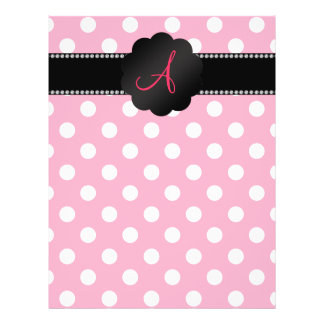 Monogram pink white polka dots full color flyer