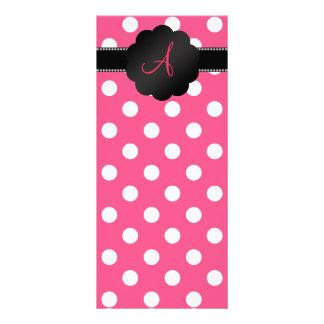 Monogram pink white polka dots full color rack card