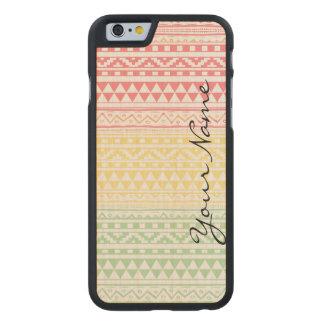 Monogram Pink Yellow Watercolor Tribal Pattern Carved Maple iPhone 6 Case