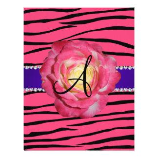 """Monogram pink zebra stripes pink rose 8.5"""" x 11"""" flyer"""