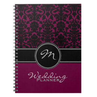 Monogram Plum Black White Damask Wedding Planner Spiral Note Books