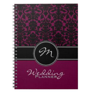 Monogram Plum Black White Damask Wedding Planner Notebooks