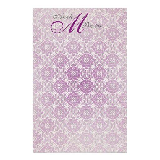 Monogram Plum Lace Wedding Stationery