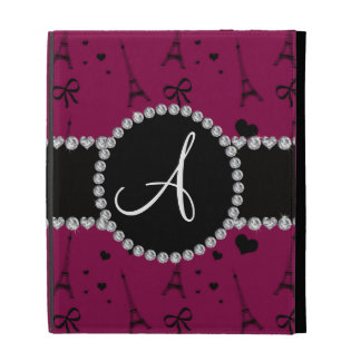 Monogram plum purple eiffel tower pattern iPad folio cases
