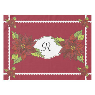 Monogram Poinsettias on Red Holiday Tablecloth