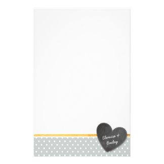 MONOGRAM polka dot chalkboard heart pale gray Stationery