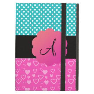 Monogram polka dots and hearts iPad air covers