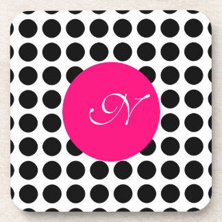 Monogram Polka Dots Drink Coaster