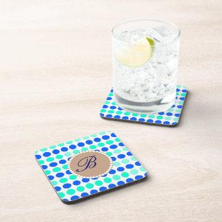Monogram Polka Dots Beverage Coaster