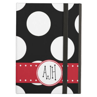 Monogram - Polka Dots, Dotted Pattern - Black Case For iPad Air