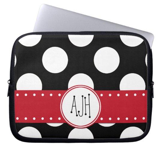 Monogram - Polka Dots, Dotted Pattern - Black Laptop Sleeve