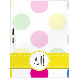 Monogram - Polka Dots, Dotted Pattern - Pink Green Dry Erase Board