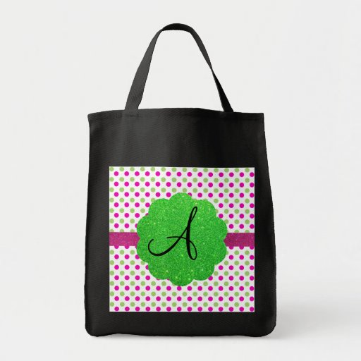 Monogram polka dots pink green canvas bags
