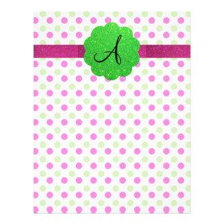 Monogram polka dots pink green 21.5 cm x 28 cm flyer