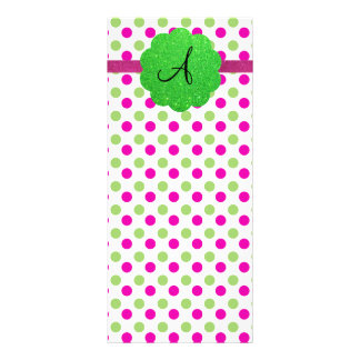 Monogram polka dots pink green rack cards