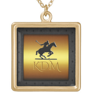 Monogram Polo, riveted steel frame with gold look Gold Plated Necklace
