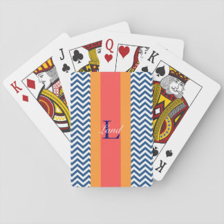 Monogram Preppy Blue Chevron Playing Cards