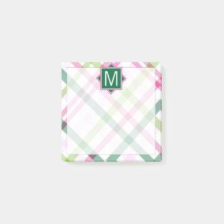 Monogram | Preppy Plaid Post-it Notes