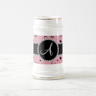Monogram pretty pink eiffel tower pattern beer stein