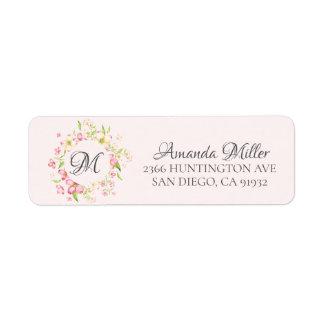 Monogram Pretty Pink Floral Return address Return Address Label