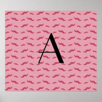 Monogram pretty pink mustache pattern poster