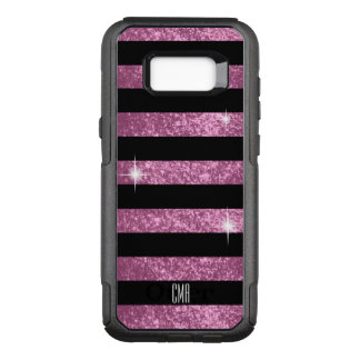 Monogram- Pretty PinkFaux Glitter & Black Stripes OtterBox Commuter Samsung Galaxy S8+ Case